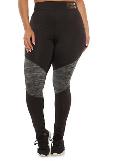 Plus Size Color Block Active Leggings,BLACK,large