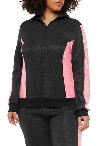 Plus Size Love Graphic Zip Up Sweatshirt,BLACK,large
