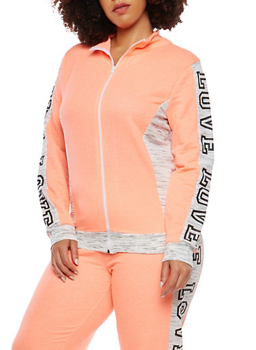 Plus Size Love Graphic Zip Up Sweatshirt,CORAL,large