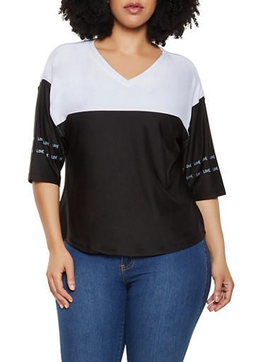 Plus Size Love Color Block Top,BLACK/WHITE,large