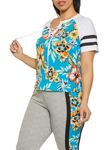 Plus Size Floral Lace Up Baseball Tee,TEAL,large
