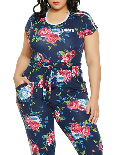 Plus Size Love Floral Tee,NAVY,large