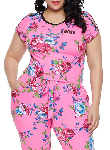 Plus Size Love Floral Tee,PINK,large