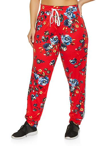 Plus Size Printed Soft Knit Joggers | 1951038341730,RED,large