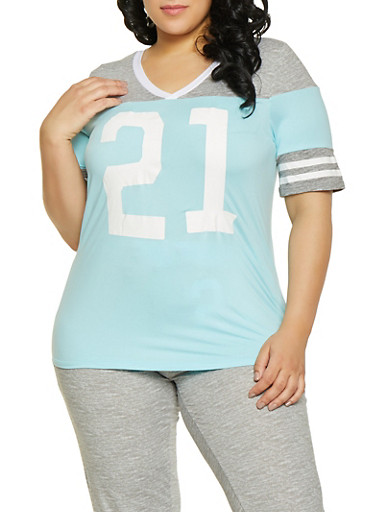 Plus Size 21 Graphic Tee,BABY BLUE,large