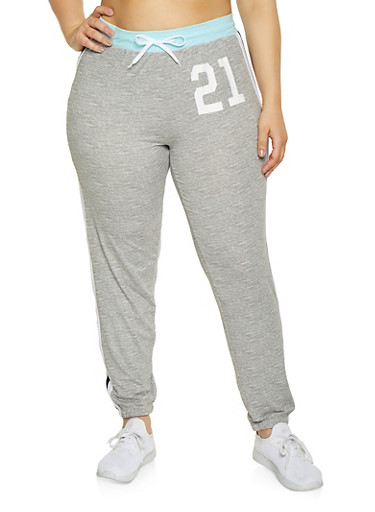 Plus Size 21 Graphic Joggers,BABY BLUE,large