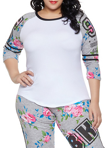 Plus Size BK Baseball Tee,HEATHER,large