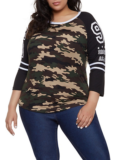 Plus Size BK Baseball Tee,OLIVE,large