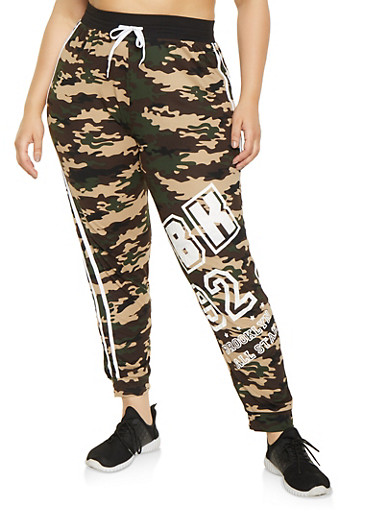 Plus Size BK Printed Joggers,OLIVE,large