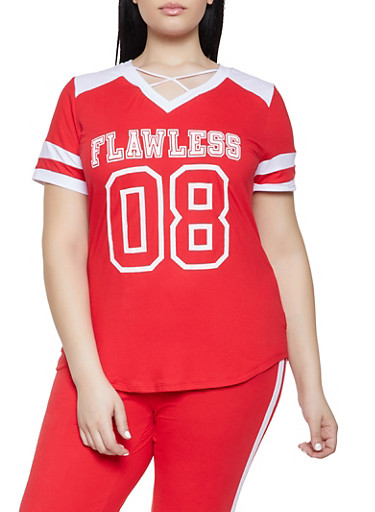 Plus Size Flawless Graphic Tee,RED,large