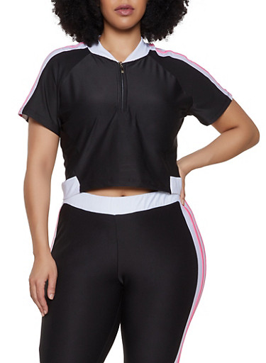 Plus Size Half Zip Active Top,BLACK/WHITE,large