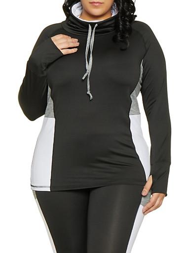 Plus Size Color Block Activewear Top,BLACK/WHITE,large