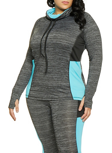 Plus Size Color Block Activewear Top,TURQUOISE,large