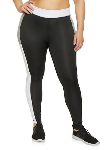 Plus Size Color Block Activewear Leggings | 1951038341748,BLACK/WHITE,large