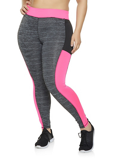 Plus Size Color Block Activewear Leggings,PINK,large