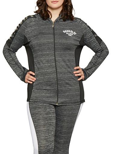 Plus Size Namaslay Graphic Marled Sweatshirt,BLACK,large