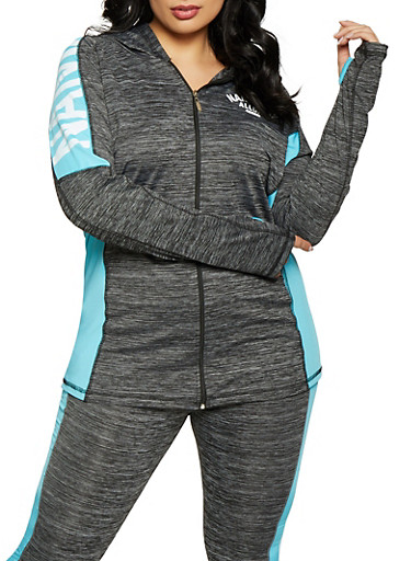 Plus Size Namaslay Graphic Marled Sweatshirt,TURQUOISE,large