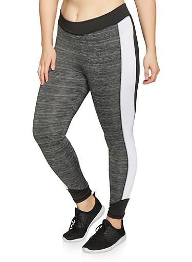 Plus Size Color Block Activewear Leggings,BLACK,large