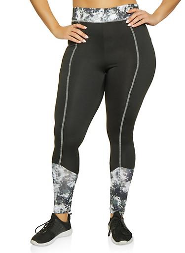 Plus Size Printed Color Block Active Leggings,BLACK,large
