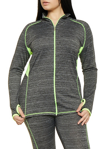 Plus Size Zip Front Activewear Sweatshirt,LIME,large