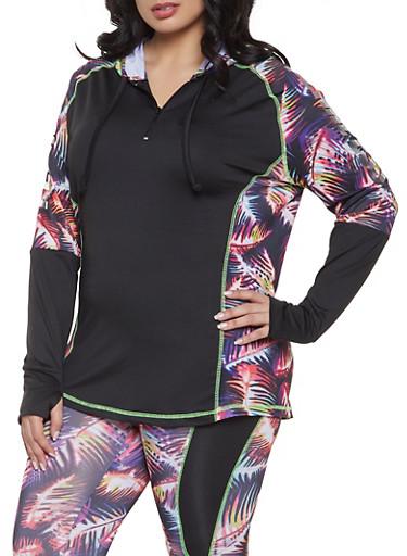 Plus Size Fearless Zip Neck Activewear Top,BLACK,large