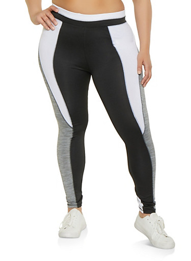 Plus Size Marled Color Block Active Leggings,BLACK/WHITE,large