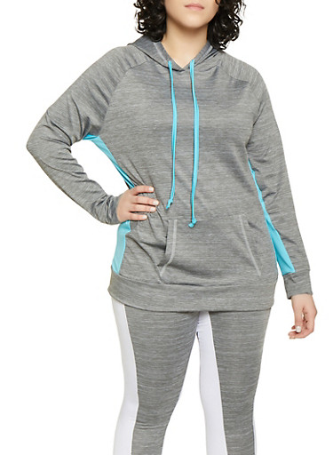 Plus Size Contrast Drawstring Active Hooded Top,TURQUOISE,large