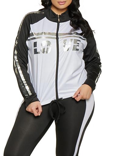 Plus Size Contrast Trim Active Sweatshirt,BLACK,large