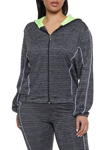 Plus Size Contrast Stitch Hooded Activewear Top,LIME,large