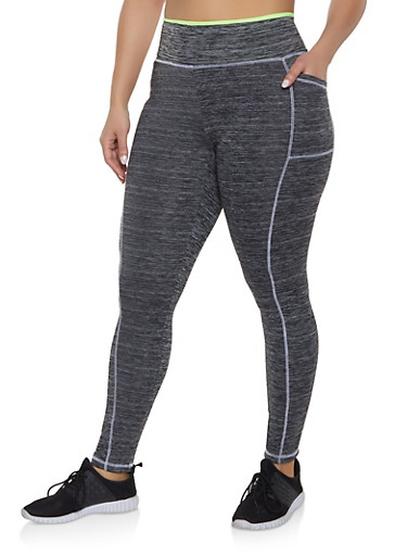 Plus Size Contrast Stitch Activewear Leggings,LIME,large