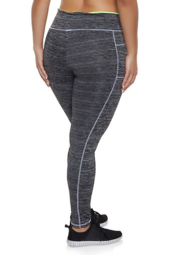 444b4a9403e Plus Size Contrast Stitch Activewear Leggings - Rainbow