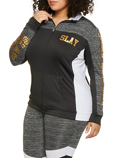 Plus Size Slay Color Block Zip Front Activewear Top,BLACK/WHITE,large