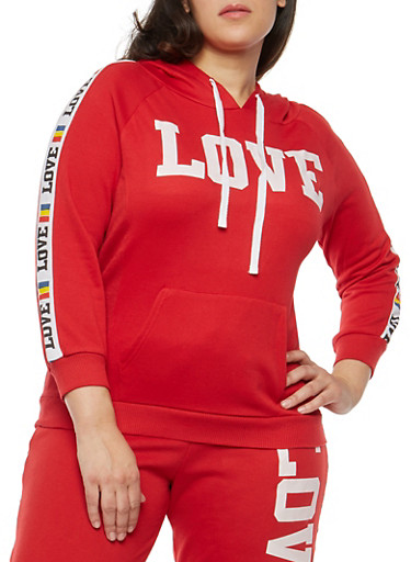 Plus Size Love Graphic Pullover Sweatshirt,RED,large