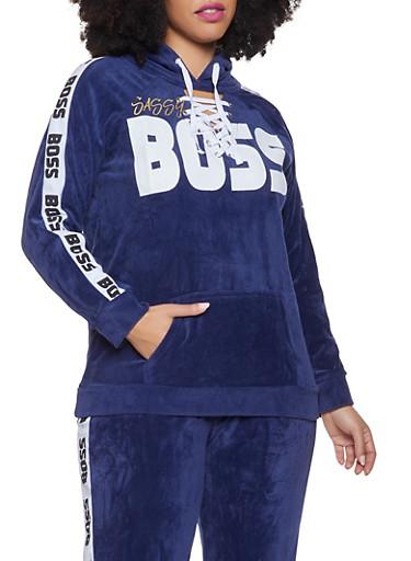 Plus Size Boss Graphic Lace Up Velour Sweatshirt,NAVY,large