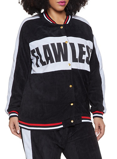 Plus Size Flawless Graphic Velour Track Jacket,BLACK,large