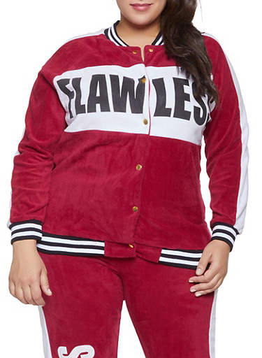 Plus Size Flawless Graphic Velour Track Jacket,WINE,large