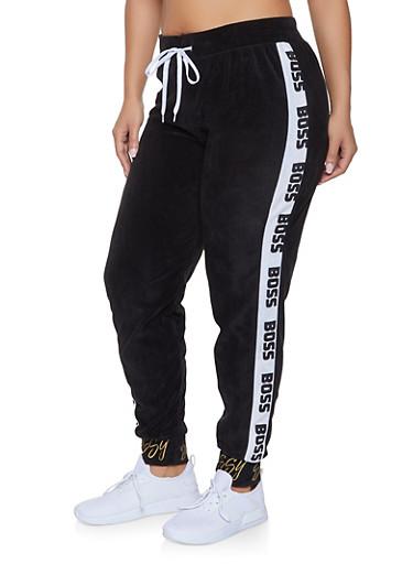 Plus Size Boss Graphic Trim Velour Sweatpants,BLACK,large