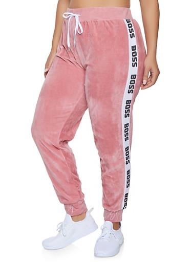 Plus Size Boss Graphic Trim Velour Sweatpants,PINK,large