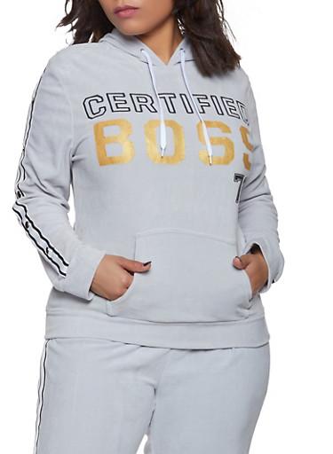Plus Size Certified Boss Velour Sweatshirt,HEATHER,large