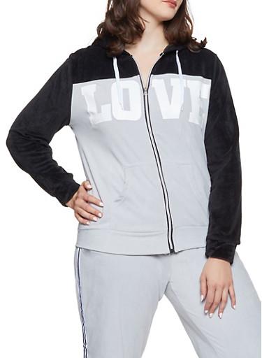Plus Size Love Graphic Velour Sweatshirt,BLACK,large