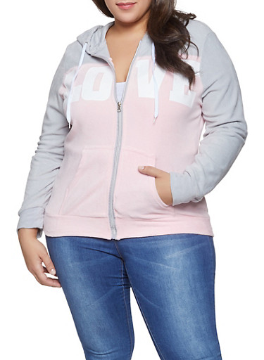 Plus Size Love Graphic Velour Sweatshirt,PINK,large
