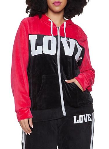 Plus Size Love Graphic Velour Sweatshirt,FUCHSIA,large