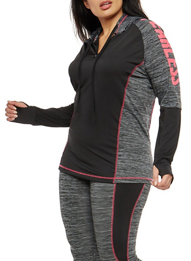 Plus Size Graphic Color Block Hooded Activewear Top,CHARCOAL,large