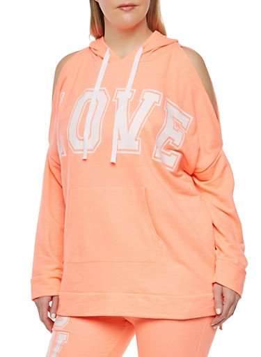 Plus Size Love Graphic Cold Shoulder Sweatshirt,ORANGE,large