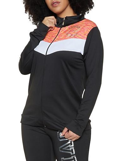 Plus Size Love Graphic Activewear Top,BLACK,large