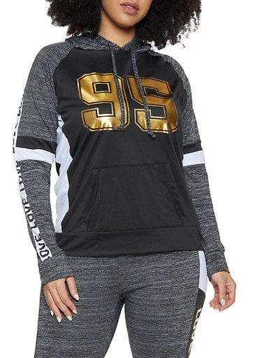 Plus Size Love 95 Color Block  Activewear Top,BLACK,large