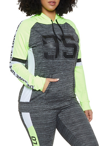 Plus Size Love 95 Activewear Top,CHARCOAL,large