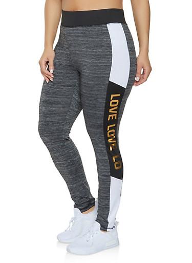Plus Size Love Activewear Leggings,BLACK,large