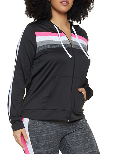 Plus Size Color Block Hooded Active Top,BLACK,large