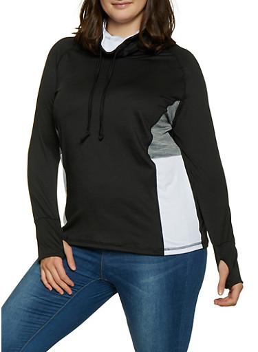 Plus Size Cowl Neck Activewear Top,BLACK,large